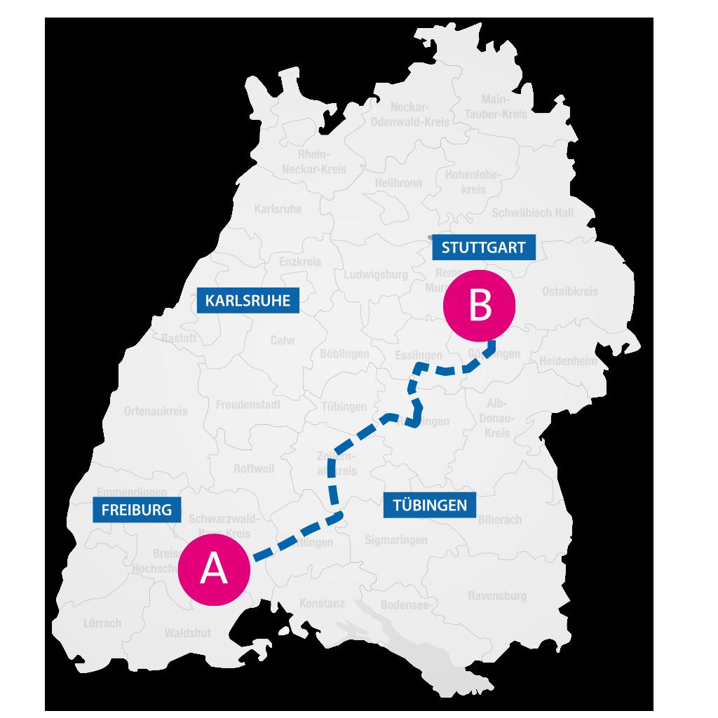 Karte von Baden-Württemberg nit symbolischer Routenplanung von Stuttgart nach Freiburg